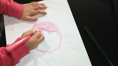 Child girl drawing virus paint in covid19 pandemic disease,child care education Live Action