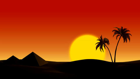 Sunrise in the desert on the pyramids and palm trees Animation