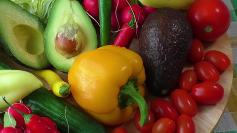 A pile of fresh and crisp summer vegetables Footage