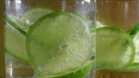 Mineral water soda with lime Footage
