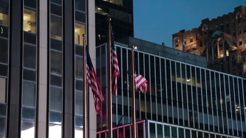 American Flags in the evening in New York Footage