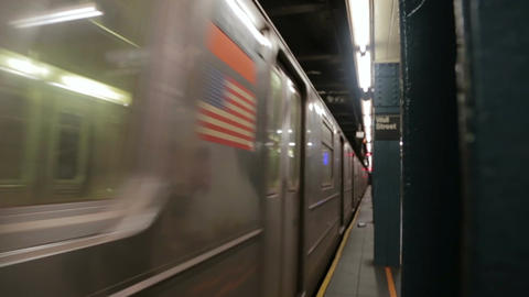 New York subway train arriving at the station Wall Street Footage