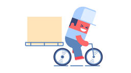 Delivery man riding bike