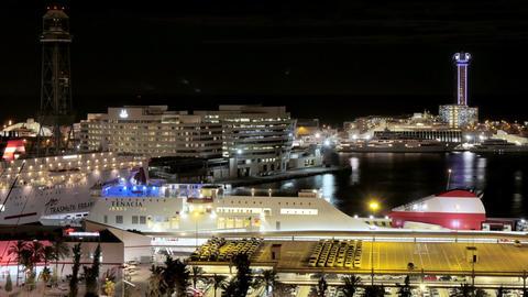 Barcelona Maremagnum Harbor Tourist City Area at Night Footage