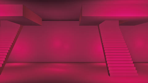 Broadcast Passing Hi-Tech Stairs Alley, Red, Transport, 3D, 4K Animation