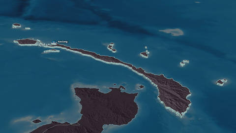New Ireland extruded. Papua New Guinea. Stereographic administrative map Animation