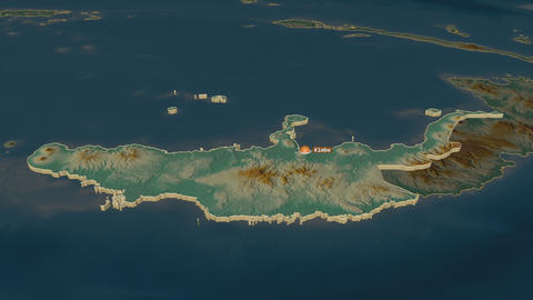West New Britain extruded. Papua New Guinea. Stereographic relief map Animation