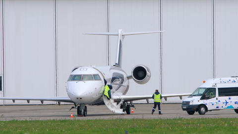Private jet getting ready for a flight Live Action