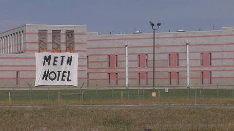 "A sign that says Meth Hotel"" hangs on the outside of a... Stock Video Footage"