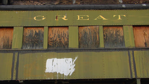 "A railway car that has Great Northern"" painted on it... Stock Video Footage"