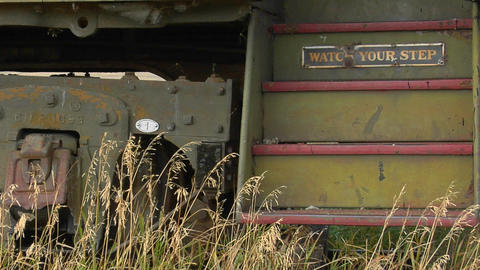 Steps lead into an abandoned railway car with a sign that... Stock Video Footage