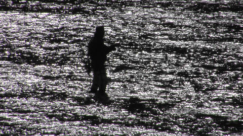 A man fly fishes in a broad shallow river Footage