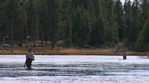 men fly fish in a broad shallow river Stock Video Footage