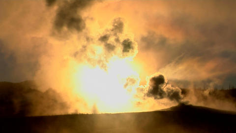 Dark clouds rise from a volcanic eruption in a geothermal... Stock Video Footage