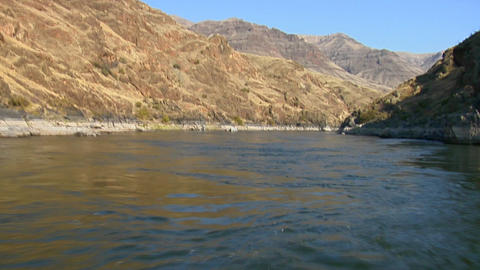 A jet boat moves up the Snake River in Idaho Live Action