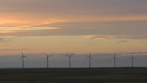 A line of windmills are silhouetted against a golden sky Footage