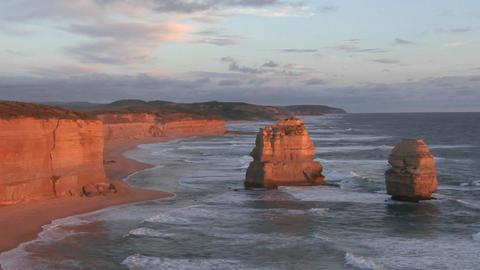 Waves crash against the rocky coastline on the south coast of Australia Live Action