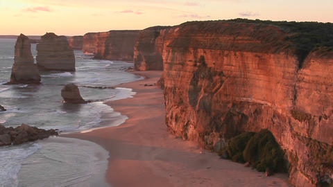 The Twelve Apostles stand off the coast of Victoria in Australia Footage