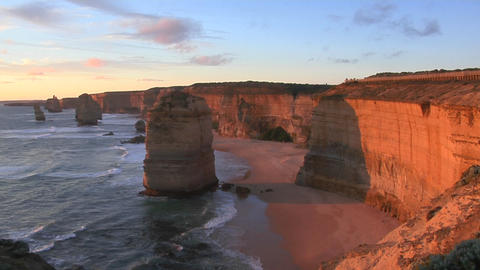 Rock formations known as the Twelve Apostles stand out on... Stock Video Footage