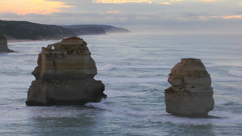 Rock formations known as the Twelve Apostles stand out on the Australian coast Footage