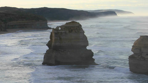 Rock formations known as the Twelve Apostles along the Australian coast Footage