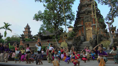 Girls practice the legong dance at a Balinese dance school Footage