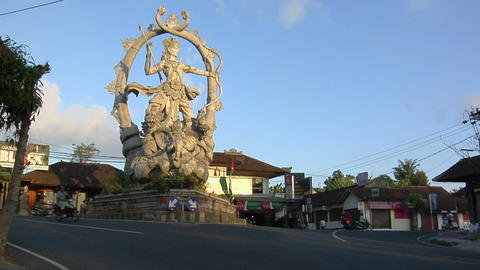 A giant statue of a Hindu god stands at the center of an... Stock Video Footage