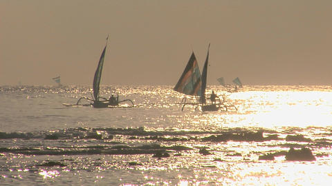 Sailboats coast across a shimmering sea Footage