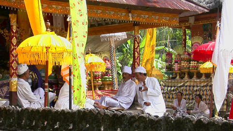 Balinese holy men prepare for a religious event in Bali, Indonesia Footage