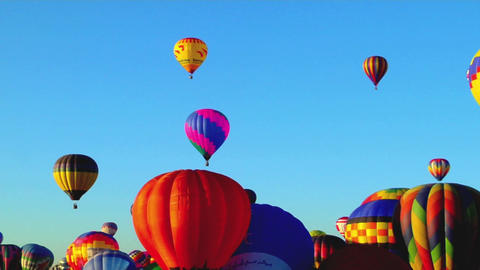 Colorful balloons launch at the Albuquerque Balloon Festival Stock Video Footage