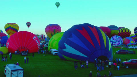 Time lapse shot of balloons filling and rising at the... Stock Video Footage