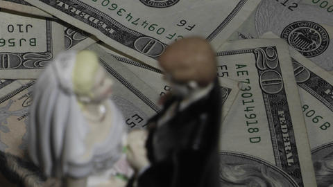 A married couple figurine stands amid twenty dollar bills Footage
