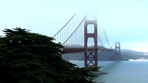 The Golden Gate Bridge graces the San Francisco bay skyline Stock Video Footage