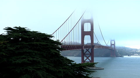 The Golden Gate Bridge graces the San Francisco bay skyline Footage