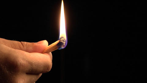 One stick-match lights a group of matches and then they... Stock Video Footage