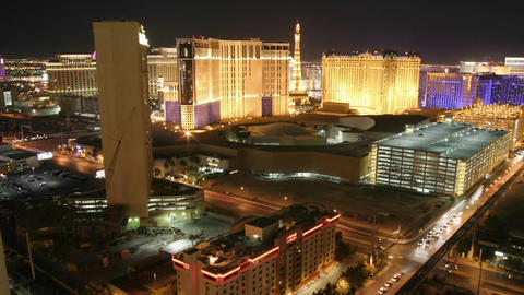 Lights illuminate the city of Las Vegas at night Footage