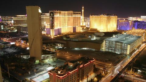 Lights illuminate the city of Las Vegas at night Stock Video Footage