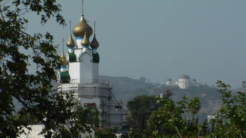 Golden domes adorn the exterior of a Style-style building Stock Video Footage