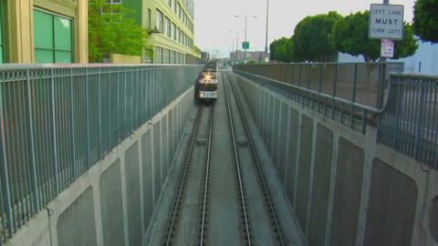A subway moves above ground Footage