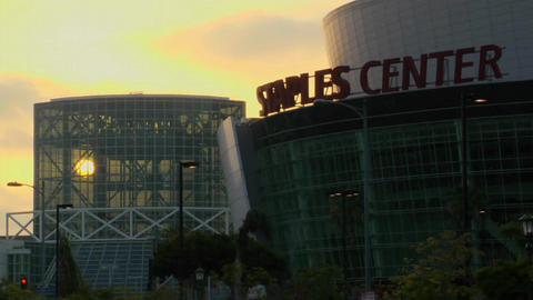 The sun shines on the Los Angeles Convention Center and... Stock Video Footage