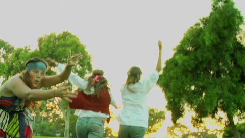 Hippies dance and run Footage