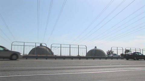 Traffic Passes A Nuclear Facility stock footage