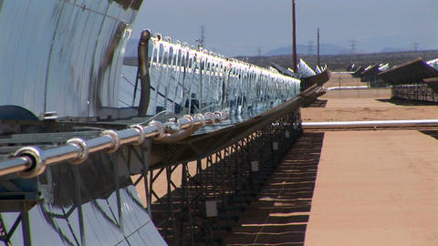 Banks Of Solar Panels Reflect In The Hot Sun stock footage