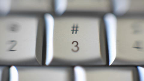 The number 3 is on a computer keyboard Footage