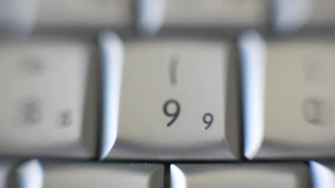 The number 9 is on a computer keyboard Footage