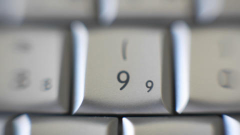 The number 9 is on a computer keyboard Stock Video Footage