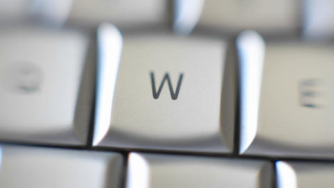 The letter W is on a computer keyboard Stock Video Footage