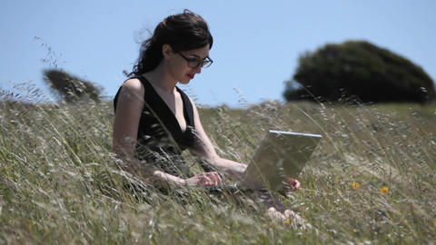 A woman sits in a field using her laptop computer Footage