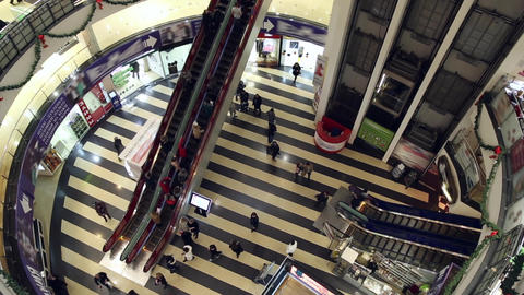 People move up and down the escalators Footage