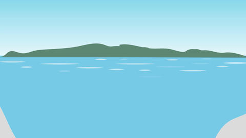 Seashore with Island in Background (Animated): Looping Animation